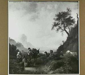 Berglandschap met muilezeldrijver en rustende herders