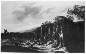Weids landschap met geitenhoeder bij ruïnes