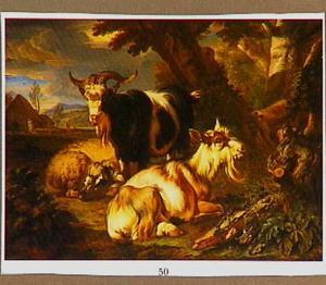 Twee geiten en een schaap in een landschap; op de achtergrond een boerderij