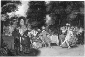 Elegant converserend, musicerend en dansend gezelschap in een tuin