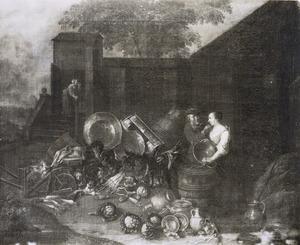 Stilleven van groente en huisraad op een boerenerf
