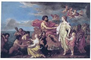 Neptunus en Ceres ruilen paarlen en vruchten: allegorie op het water en de aarde