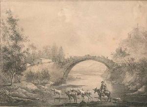 Arcadisch landschap met rivier en brug bij Francheville