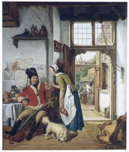 Een soldaat en een dienster in een herberg