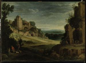 Heuvelachtig landscape met ruïnes en een jachtgezelschap