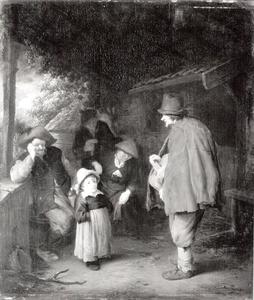 Muzikant met draailier voor een boerenwoning
