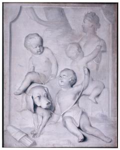Drie putti spelen samen met een hond bij een beeld van Diana