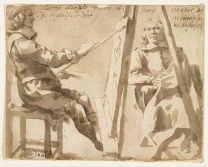 Zelfportret van Martinus Lengele (....-1668) met Jacob van der Does (1623-1663)