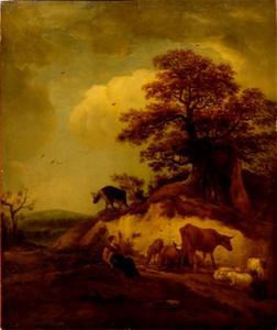 Landschap met herderin en kudde
