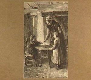Interieur met vrouw en kinderen aan de maaltijd