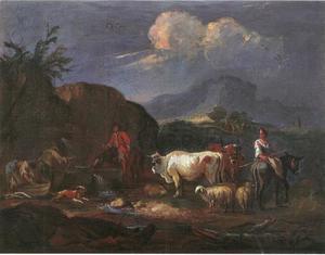 Italianiserend landschap met herders, wasvrouwen en kudde