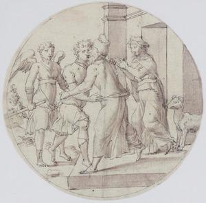 Tobias en de engel keren terug naar zijn ouders in Ninive (Tobias 10-13)