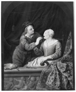 Tandarts met een vrouw in een venster