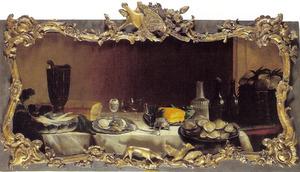 Stilleven met oesters, brood en gekookt ei