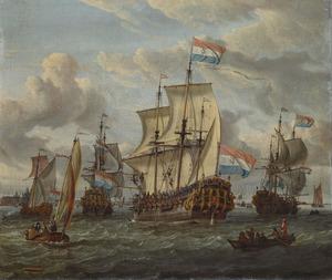 Het fregat Pieter en Paul op het IJ