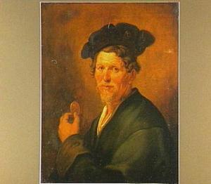 Portret van een man met een baret, met in de linkerhand een penning