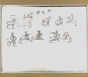 Studies van paarden en ruiters te paard