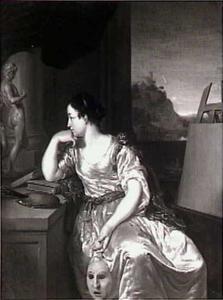 Pictura; jonge vrouw met boeken, standbeeldjes en een leeg schildersdoek