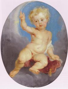 Het Christuskind zittend op een kussen in de wolken, zegenend