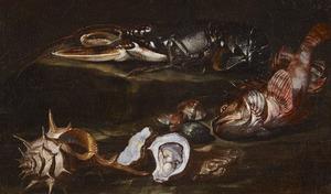 Stilleven met vis, kreeft en schelpdieren