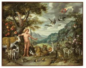 Het verhaal van Adam en Eva: Adam geeft de dieren een naam