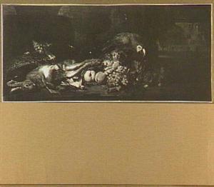 Stilleven van haas, gevogelte en vruchten; links een kat en rechts een papegaai en een konijn