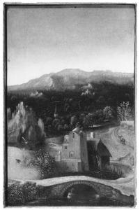 Landschap met stenen brug en watermolen (mogelijk een fragment)