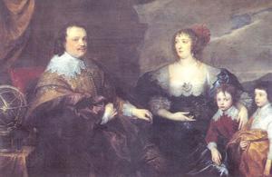 Familieportret van Sir Kenelm Digby (1603-1665) en Lady Venetia Anastasia Stanley (1600-1633)  met hun zoons Kenelm Digby (?-?) en John Digby (1627-1690)