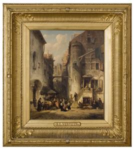 Stadsgezicht met figuren bij een synagoge