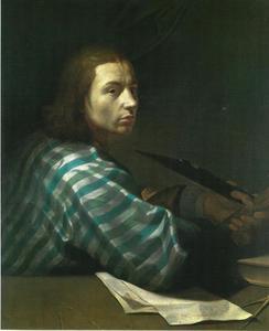 Zelfportret van Ernst Dietrich Andreae (c. 1680-1734) leunend op zijn elleboog
