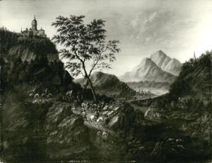 Berglandschap met kasteel en karavaan