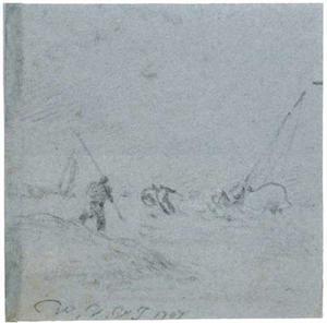 Figuren op het strand bij storm