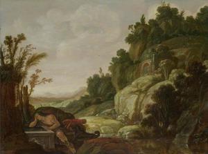 Berglandschap met Narcissus bij de bron