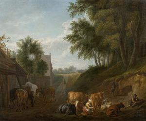 Landschap met vee en melkmeid bij een boerderij aan een bosrand