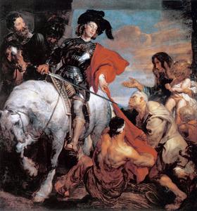 De Heilige Martinus van Tours snijdt zijn mantel in tweeën
