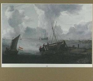 Riviermonding met vissersboten
