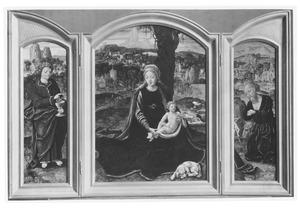 De H. Johannes de Evangelist (links), Maria met kind (Rust op de vlucht naar Egypte) (midden) de H. Hieronymus (rechts)