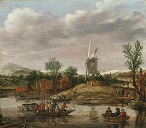 Landschap met veerpont en roeiboot bij een molen