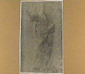 Studie van een man met uitgestrekte rechterarm