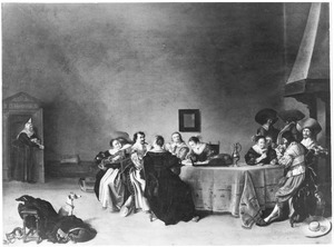 Elegant musicerend, kaartend, rokend en drinkend gezelschap in een interieur
