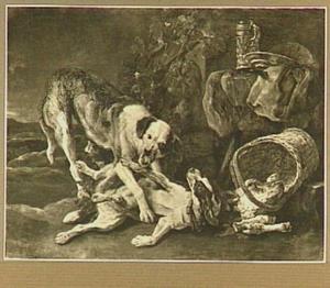 Twee vechtende honden; rechts een mand met een kop van een kalf