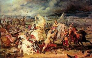 De slag bij Marston Moor in 1644 met Oliver Cromwell (1599-1658) te paard