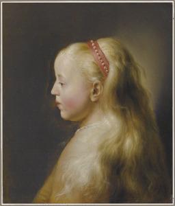 Kop van een  meisje met lang blond haar