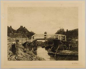 Dorpsgezicht met twee waterdraagsters, een vrouw op een brug en een man in een boot