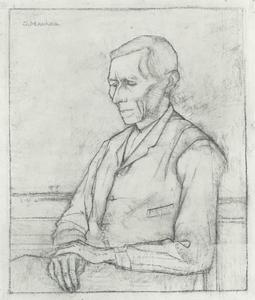 Vader Mankes, zittend naar links, voor het raam
