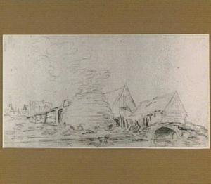 Landschap met kalkoven, schuren en een brug