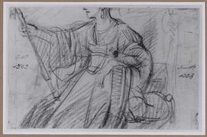 Zittende vrouw met scepter, naar links