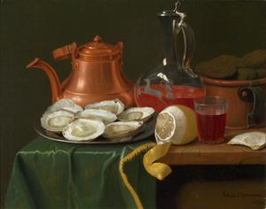 Stilleven met oesters, een koperen ketel, een karaf rode wijn en een halfgeschilde citroen