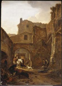 Gezicht op een Italiaanse binnenplaats met figuren