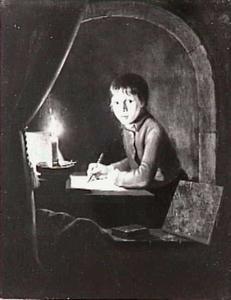 Een schrijvende jongen